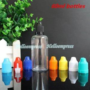 Stock ahora! Clear Ejuice Empty PET bottles 60ml Childproof Cap Needle Tip E Liquid Plastic Cuentagotas Bottle 60ml E Cigarette Vapor Bottles