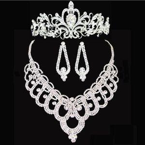 Accessori per corone da sposa Accessori per capelli Diademi Collana Orecchini Accessori Set di gioielli da sposa Sposa sposa stile economico HT143