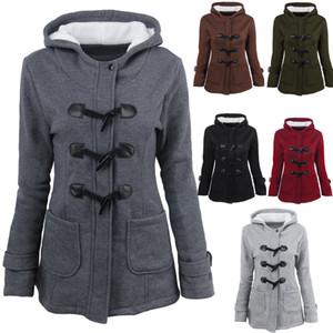 2017 outono e inverno novos botões de chifre das mulheres no estilo longo casaco casaco de lã camisola casaco de algodão alongada