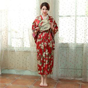 Free Shipping new sale Vintage dress Japanese Women's Silk Satin Kimono Yukata Evening Dress Flower Free Size 6 Style