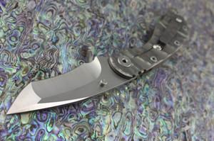 Javali Strider estilo Tritium SMF SNG T-cabeça faca dobrável D2 stonewash lâmina G10 + Chama Titanium liga punho faca Tático ferramentas EDC