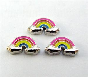 Nuevo diseño FC617 medallón flotante encantos 10 piezas arco iris para medallón de vida flotante como regalo al por mayor envío gratuito