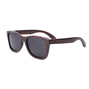 2018 new Fashion Men Sunglasses Gafas de sol de bambú de madera personalizadas Gafas de sol de color marrón polarizadas Square oculos feminino de sol