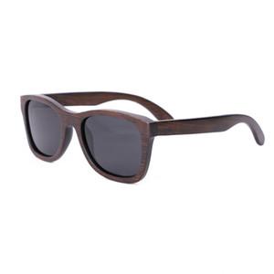 2018 new Fashion Men Sunglasses Custom wood Bamboo sunglasses Square oculos feminino de sol Polarized bamboo colored brown sunglasses