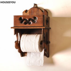 Wholesale- Rectangular Retro Wooden Paper Cover Storage Boxes Rack Tissue Box Napkin Holder Home Storage Decor for Dining Room Supplies