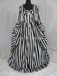 Date Katrina Sleepy Creux Colonial Polonaise Rayé Gothique Victorien Robe Rayé Bustle Dress Médiéval Période Costume