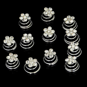 Venta al por mayor 12 Unidades / lote Nueva Boda Nupcial Plateado Cristal de Imitación Perla Remolino Giro Cabello Spin Pins Mujeres DHF775
