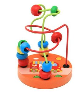 1PC New Kids Baby Colorful Wooden Mini Around Beads Educational Toddler Infant Intelligence Game Toys Gifts