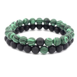 European women and men's malachite natural stone beaded bracelets hot sale couples strands bracelets jewelry accessories