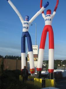 Heiße verkaufende Welle des Förderunggroßverkaufspreises mehrfarbige zwei Arme weiße aufblasbare Himmeltänzer des Lufttänzers KEINE BLOWER