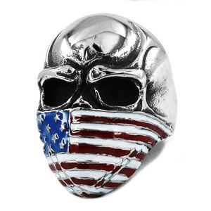 Free shipping! American Flag Infidel Skull Ring Stainless Steel Jewelry Classic Vintage Motor Biker Skull Men Ring Wholesale SWR0368BA