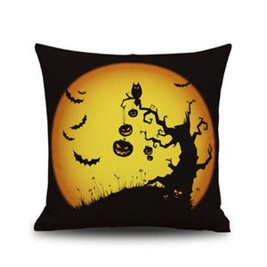 Halloween Linen Pillowcase Decoration Pattern Pillow Case Sofa Decor Square Decorative Gift Car A Living Room