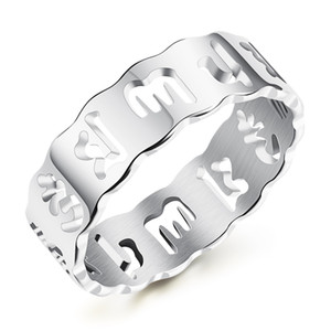 LSE JÓIAS Om Mani Padme Hum Anéis de casamento de aniversário em Aço Inoxidável Espiritual Mens - Silver, Gold