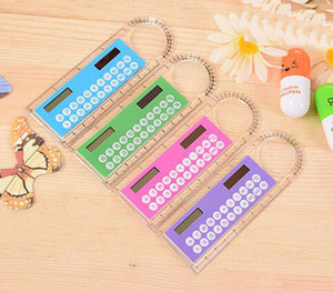Student Ruler Calculator Plastic Mini Multifunction Calculator 10cm Creative Stationery Portable Solar Calculator Straight Ruler Wholesale