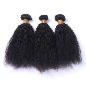 Afro Kinky Curly Virgin Human Hair Weave Extensions de cheveux humains brésiliens non transformés Afro Curly Bundles offres Double wefted 3Pcs Lot