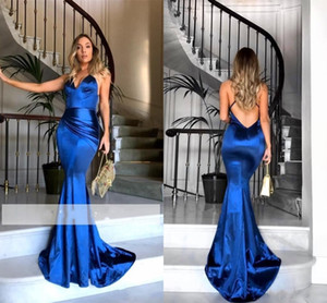2018 New Royal Blue Sexy Backless Evening Wear Spaghetti Strap Raso lucido Abiti occasioni speciali Increspato Mermaid Prom Dresses