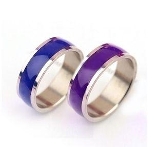 8mm Mood Rings Personalidade anel de aço de titânio mudando anéis de cor 100 pçs / lote 17-21 tamanhos mistos