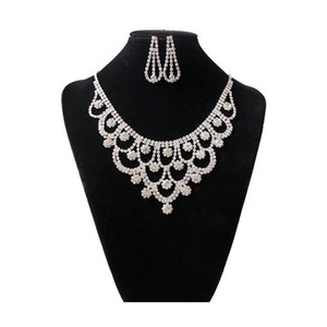 Fashion Austrian Crystal Wedding Jewelry Set Statement Necklaces Earrings Sets for Bridal accessories party Jewelry set