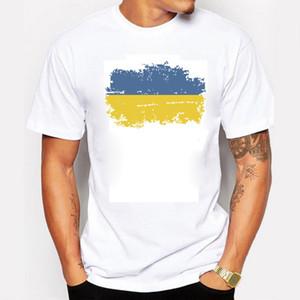 Ukraine National Flag Summer T shirts For Men Casual 100% Cotton Nostalgic Ukraine Patriotism Flag 2016 Rio Games Cheer T-shirts