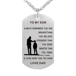 55 cm Paizinho Mamãe Para Filho Dog Tag Colar De Aço Inoxidável Militar Mens Jóias Personalizado Dogtags Pingente Presente de Amor Personalizado