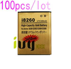 100pcs lot 2450mAh Gold Replacement Battery for Samsung Galaxy Core i8260 G3502U G3502 G3508 G3509 i8268 i829 Batteries Batterij
