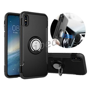 Hybrid 2-in-1 Armor Case for iPhone 10 X i8 8 7 Plus ShockProof Case with 360° Ring Stand Holder Magnetic Back Cover for Note 8 Cheap 350pcs