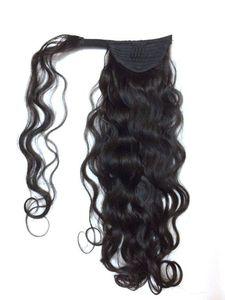 """cola de caballo rizada malayo barato ponytail remy piezas de pelo remy ponytail wrap arounds 18 """"extensiones de cola de caballo de cabello humano 140g"""