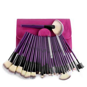 Msq Luxury Purple Design Professional 24pcs Cosmetic Brush Kit Makeup Brushes Set Case Make Up Brush Kits Face Care Tool