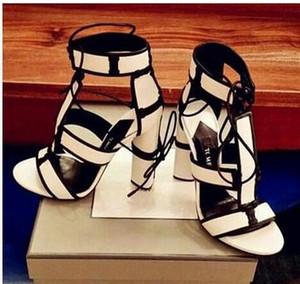 Бесплатная доставка 2016 насосы овчины кожа 11 см высокий каблук Peep toe colorblock обувь сандалии сексуальная партия Демин белый большой размер евро 35-43