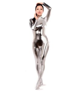 Hot Sell Sexy Tight Second Skin Suit argento Zentai Catsuit Metallic Lycra lucido