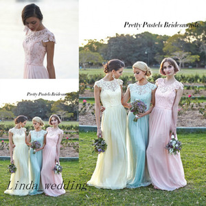 Livraison gratuite nouvelle menthe vert jaune rose demoiselle d'honneur robes jolis pastels mousseline de soie dentelle demoiselle d'honneur robes de soirée robe de mariée