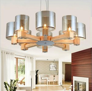 Creative modern OAK pendant light for living room dining room lampadario moderno wood glass led pendant lamp fixtures home lighting