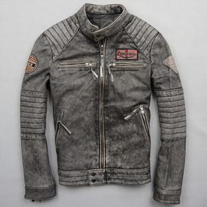 Männer echtes Leder Motorrad Jacke Lokomotive Outwear ausgefranste Rindsleder Motor Silm kurz Harley Leanther Jacken