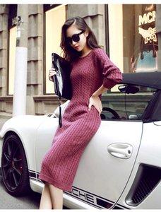 2017092226 Winter split knitted bodycon dress women Sexy long sleeve midi dress 2016 Elegant warm slim sweater dress vestidoes