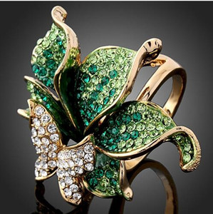 Imitación Diamante 18 K Chapado En Oro Joyería Del Partido Elegante Forma de Mariposa de Cristal Forma Anillos de Boda Para Womee anillos joyería libera el envío