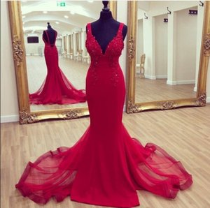 Elegant Sexy Mermaid Red Evening Dresses Deep V Neck Backless Beads Sequins Lace Appliques Charming Prom Gowns Tulle Train Custom Made