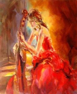 Emoldurado bela dançarina com seu violino, Genuine Pure Hand Painted Impressional Art pintura a óleo sobre tela para decoração de casa, tamanhos Mulit