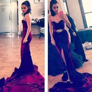 2016 neue arabische Samt Prom Dresses Mermaid Sweetheart Abendkleid Burgundy Long Split Gericht Zug Schärpen Reißverschluss Party Kleid formale Kleider