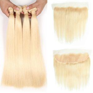Brasilianisches reines Haar Silk Straight 4 Bundles mit Verschluss 613 Blondes Haar Bundles mit frontalem Ohr zu Ohr Lace Frontal brasilianisches reines Haar