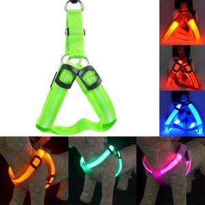 LED Nylon Pet Dog Cat Collar Peppy Dog Harness Led Intermitente Luz Arnés Collar Pet Safety Led Leash Cuerda Cinturón Al Por Mayor
