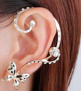 Charm Earrings Ear Cuffs Punk Crystal Silver Plated rhinestone Butterfly Ear Bone Clips Gothic Earrings