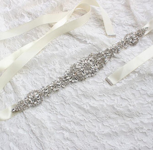 Vestido barato Cinturón de novia Vestidos de novia Cinturones de novia Rhinestone Cinta de cristal de la noche Princesa Princesa Hecho A Mano blanco Rojo Black Blush
