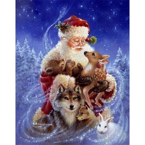 Papá Noel y Animales 5D DIY Mosaico Costura Pintura Diamante Bordado de punto de Cruz Craft Kit Pared Hogar Decoración Colgante