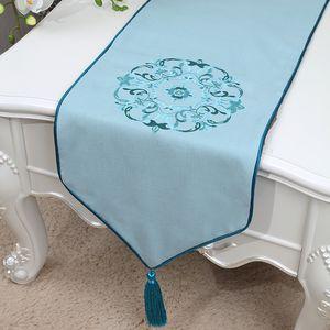 Kurze Länge Neue Stickerei Tischläufer Hohe Qualität Baumwolle Leinen Moderne Einfache Tischdecke China stil Esstisch Pads Tischset 150x33