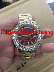 2016NEW Luxury 43mm Gold Big Diamond Reloj mecánico para hombre (azul, negro, verde, Claret gules) esfera de acero inoxidable automático para hombre
