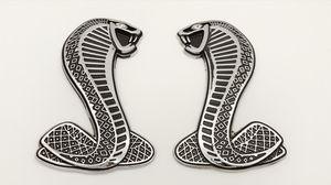 2PCS BRAND NEW Metal 3D FORD MUSTANG SERRE COBRA EMBLEMS BADGES SVT LOGO SHELBY