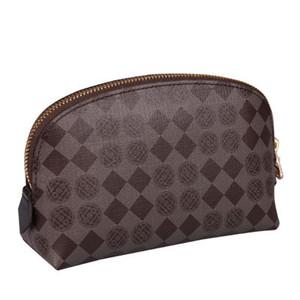 Envío libre de la lona de alta calidad de cuero oxidante bolsa cosmética M47515 Diseñador de la marca famosa de la cremallera caja de maquillaje bolso de baño
