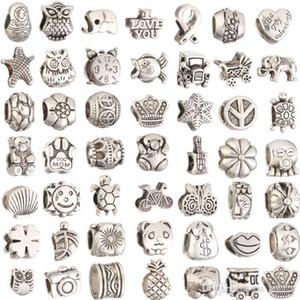 Mix Style versilbert Big Hole Lose Perlen metalle charms Für Pandora DIY Schmuck Armband Für Europäische charms BraceletNecklace