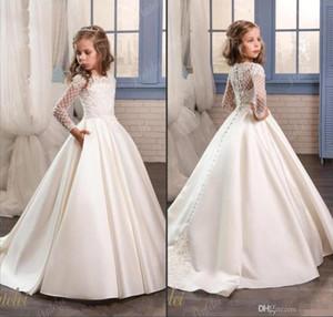 Principessa bianco pizzo Flower Girl Abiti per la cerimonia nuziale 2018 Sheer Maniche lunghe prima comunione Festa di compleanno Abiti ragazze spettacolo Dress