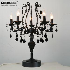 Lampe de table en cristal vintage 5 lumières, luminaire de bureau de table Lampe de table en candélabre Cristal Lustre de cristal